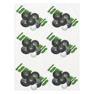 Lawn Bowls Logo, White Cotton Table Cloth. Tablecloth