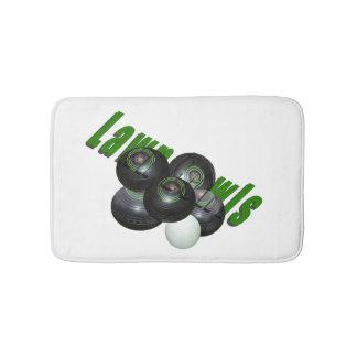 Lawn Bowls Logo White Memory Foam Bath Mat. Bath Mats