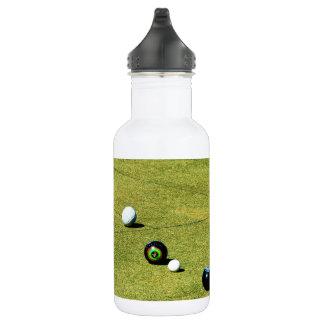 Lawn Bowls, White Aluminium Water Bottle