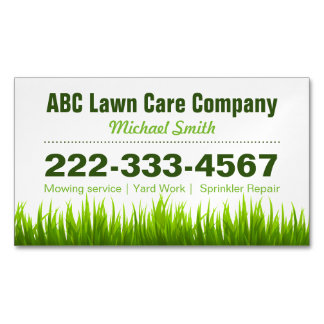 Lawn Care Landscaping Services Green Grass Style Magnetic Business Cards