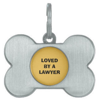 Lawyer Dog Tag, Bone: Loved by a lawyer Pet Name Tag