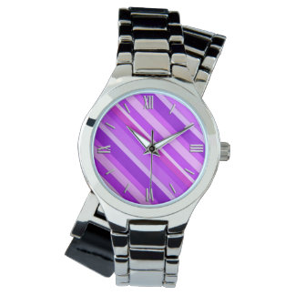 Layered candy stripes - purple and orchid watch