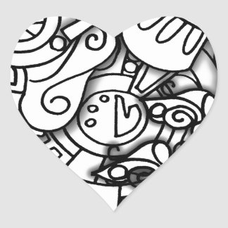 Layery Doodles Series Heart Sticker