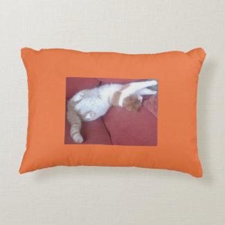 Lazy Cat Double Design Pillow Pink Orange Accent Cushion