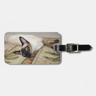 Lazy Siamese Cat Luggage Tag