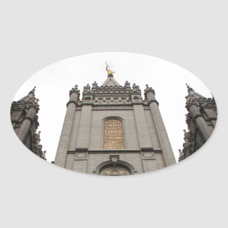 LDS Mormon Salt Lake City Temple photograph Oval Sticker