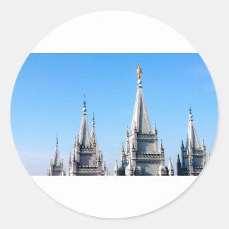 lds salt lake city temple angel moroni round sticker