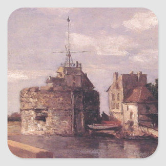 Le Havre, Francais tower by Eugene Boudin Square Sticker