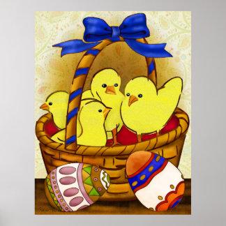 Le Petit Poule Easter Folk Art Poster