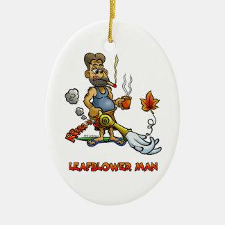 Leaf Blower Man! Ceramic Oval Decoration