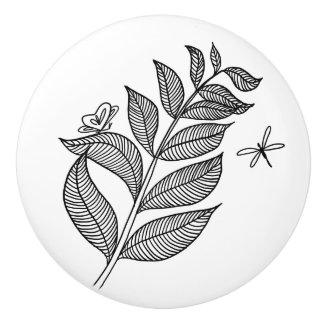 Leaf Sprig #1 Ceramic Knob