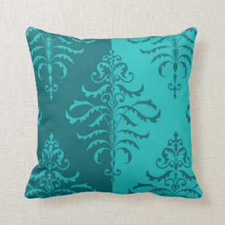 Leafy Damask Pattern in Teal - Two-Way Design Cushion