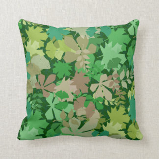 Leafy Forest Floor in Green and Chartreuse Cushion