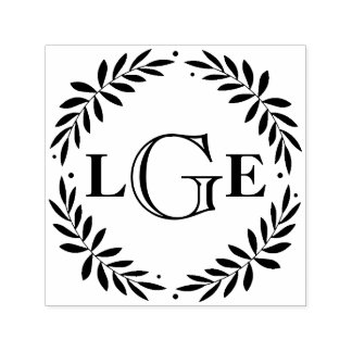 Leafy Laurels Monogram Custom Stamp