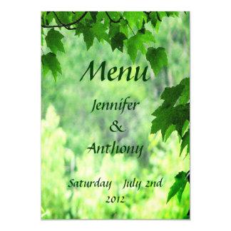 Leafy Wedding Menu Card