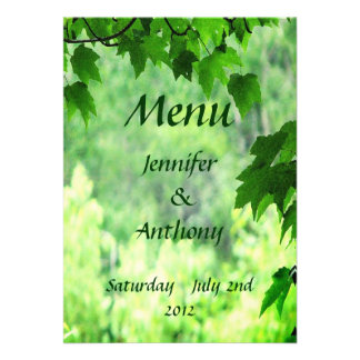 Leafy Wedding Menu Personalized Announcements