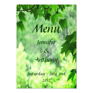 Leafy Wedding Menu 13 Cm X 18 Cm Invitation Card