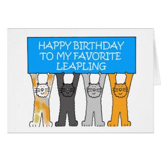Leap Year Birthday, American spelling. Card
