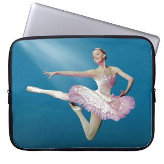 Leaping Ballerina on Blue Laptop Sleeve