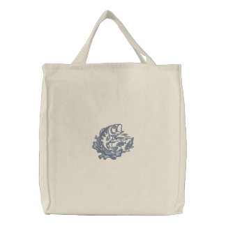 Leaping Bass Embroidered Tote Bag
