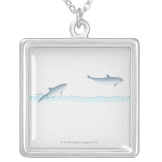 Leaping Dolphin Silver Plated Necklace