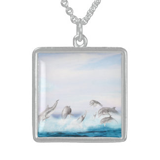 Leaping Dolphins Sterling Silver Necklace