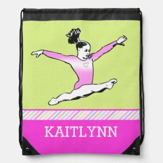 Leaping Gymnast w/ Monogram Drawstring Bag