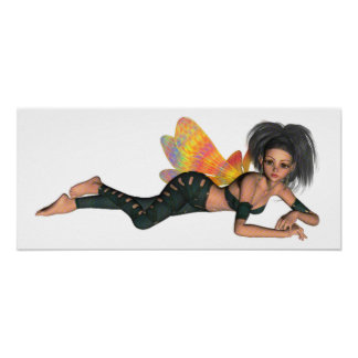 Leather-Clad Rainbow Wing Biker Pixie 3D Poster