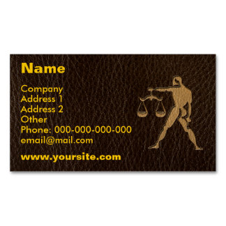 Leather-Look Libra Magnetic Business Card