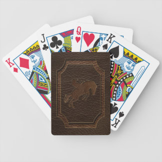 Leather-Look Rodeo Dark Bicycle Playing Cards