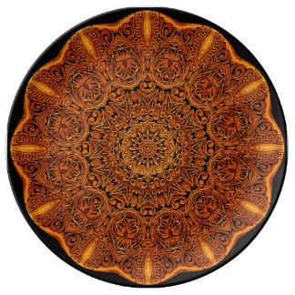 Leatherwork Mandala Vignette Porcelain Plate
