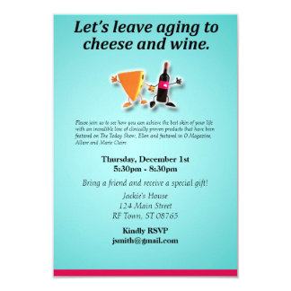 Leave the aging to cheese and wine 9 cm x 13 cm invitation card