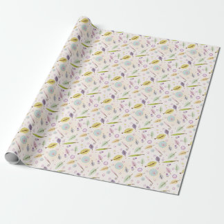 Leaves and bubbles tender pink wrapping paper
