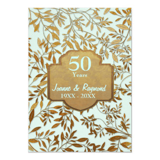 Leaves of Gold 50th Wedding Anniversary 13 Cm X 18 Cm Invitation Card