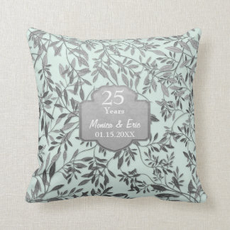 Leaves of Silver 25th Wedding Anniversary Throw Pillow