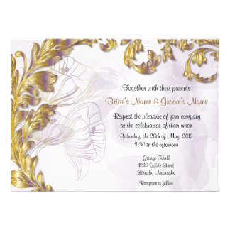 Leaves & Poppies - Lilac & Gold Custom Announcement