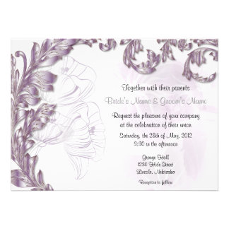 Leaves & Poppies - Lilac & Silver Invites