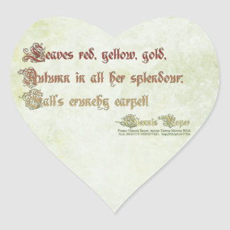 Leaves red, yellow, gold haiku heart sticker