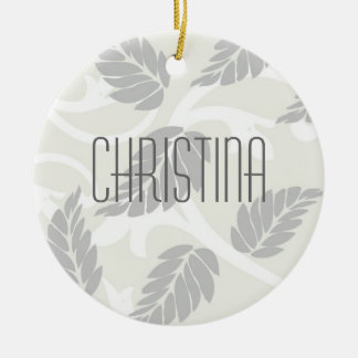 Leaves & Swirls Neutral Christmas Ornament