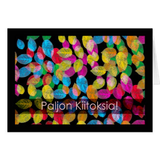 Leaves, Thank You in Finnish Suomi Greeting Card