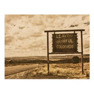 leaving colorful colorado postcard