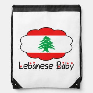 Lebanese Flag Drawstring Backpack Baby Bag