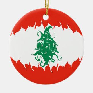 Lebanon Gnarly Flag Christmas Ornament