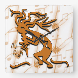 Left Facing Kokopelli With Musical Notes Square Wall Clock