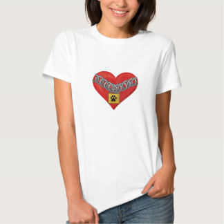 leg of dog in the heart t-shirts
