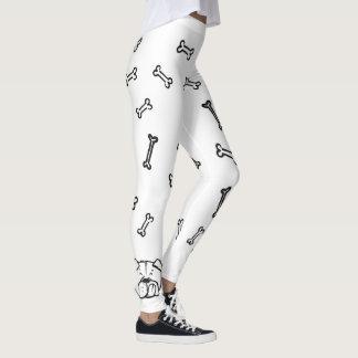 Leggings with english bulldog and bones pattern