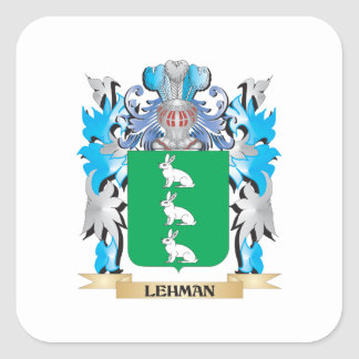 Lehman Coat of Arms - Family Crest Square Sticker