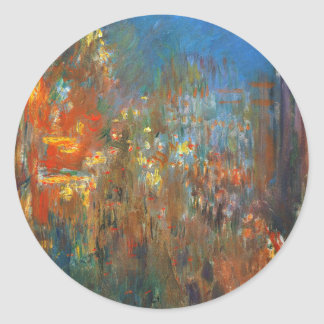 Leicester Square at Night by Claude Monet Classic Round Sticker