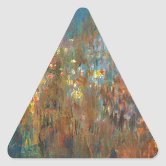 Leicester Square at Night by Claude Monet Triangle Sticker