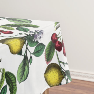 Lemon and cherries,botanical tablecloth